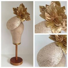 Gold Sequinned Teardrop Headpiece with Maples by Murley  Co  #Millinery #HatAcademy