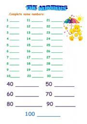 English worksheet: The numbers