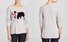 C by Bloomingdale's Bulldog Intarsia Cashmere Sweater