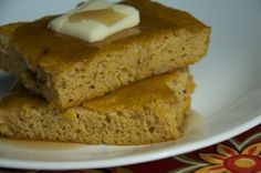 """Pumpkin Pancake Squares -- nicknamed """"Hand Cakes"""" from Once a Month Mom because she places them in her kids hands as they run for the bus on busy mornings. Will have to try these fall-inspired beauties..."""