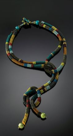 ~~Knotted Rope Necklace- Teal, Amber, Olive: Julie Powell: Beaded Necklace~~