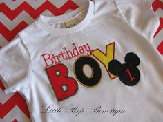 Mickey Mouse Birthday Shirt Boys first birthday t-shirt 12-18-24 2t 3t