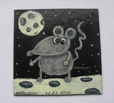 MÄUSLE IM GLÜCK von Herbivore11 Unikat Maus Mäuse Käse Minibild Inchie Quadrat