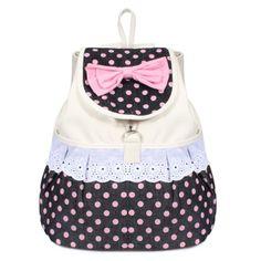 Sweet Bowknot Polka Dots Girls Backpack Schoolbag