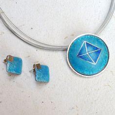 """""""Diamond"""" Translucent Opal Enamel Combined / Conjunto de Plata Esmalte Ópalo al Fuego Traslúcido por MNesmalts, €223.00"""