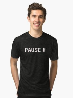 Slightly distorted VCR (Video Cassette Recorder) pause text before the time of DVD players for retro lovers. Get it on shirts, mask, pillows and other apparels and prints.  #pause #vcr #retro #vintage #vhs #video #videocassette #distorted #80s #90s #70s #shirt #retroshirt #vintageshirt #text Vintage T-shirts, Looks Vintage, Boxers, Streetwear, Don Corleone, Police, Trust, Unisex, Tshirt Colors