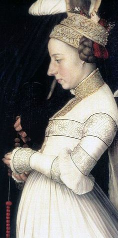 Portrait of Anna Meyer. Detail of the Darmstadt Madonna by Hans Holbein the Younger. Anna Meyer wears her wedding dress with bands of blackwork embroidery and a wreath of rosemary. Renaissance Mode, Renaissance Fashion, Renaissance Dresses, Renaissance Portraits, Renaissance Paintings, Madonna, Historical Costume, Historical Clothing, Medieval Clothing