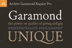 Archive Garamond Regular Pro by Archive Type Fonts on @creativemarket
