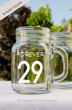 29th Birthday Glass Mason Jar Mug 29th Birthday by RusticSquare