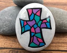 Stained Glass Bundle Painted Rocks, Set of 2 Painted Rocks in Stained Glass Style, Pick Your Own Set, Mother's Day Gift, Teacher Gift Rock Painting Designs, Paint Designs, American Flag Wood, Daisy Painting, Stained Glass Flowers, Wood Crosses, Hand Painted Rocks, Rock Art, Rock Rock