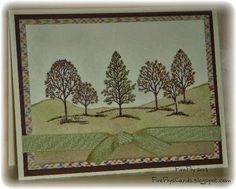 Lovely Autumn Trees by FireFly61 - Cards and Paper Crafts at Splitcoaststampers ~ Stamps: Lovely As A Tree ~ Paper: Chocolate Chip, Very Vanilla, DSP - Sweater Weather ~ Ink: Chocolate Chip, Crushed Curry, Pear Pizzazz, Sahara Sand, Soft Sky, Tangerine Tango ~ Techniques: Masking