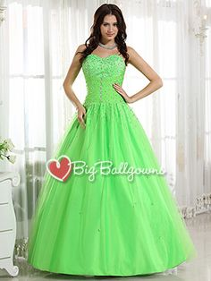 Lime Green Puffy Sweetheart Corset Tulle Satin Beaded Long Ball Gown - US$ 178.99 - Style BG0016 - BigBallGowns