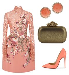 """coral"" by serafinna on Polyvore featuring Georges Hobeika, Christian Louboutin and Alexander McQueen"