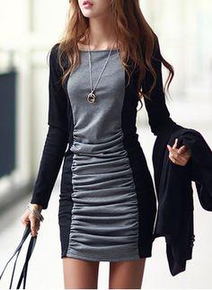 Baumwolle Farbquadrat 1027068/1027068 Ärmel Über dem Knie Lässige Kleidung Kleider (1027068) @ floryday.com