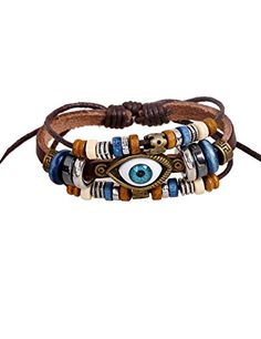 LNKRE JEWELRY Charm Evil Eye Multi-Strand Braided Beads Leather Wrap Bracelet A2. Material:Durable Leather,Metal. Dimensions:Length:8.66 inches. Through flat knot rope to adjust. Don't worry it fell apart,it is very solid. Nice gift for your freinds,lovers,or any other special person for you. Attention,Our Product Have Their Own Packaging.Each Product Has Been Packed in Jewelry bag with LNKRE JEWELRY Logo.If You Buy Products Without These.They May Be Fake.Our Logo Has a Patent Appearance.We…