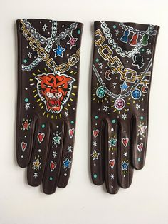 image 0 Symbolic Representation, Leather Gloves, Italian Leather, Gems, Bike, Hand Painted, Trending Outfits, Unique Jewelry, Handmade Gifts
