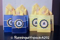 Running With Wolves: Blue & Gold-paint chips sewn together to make a pocket