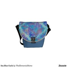Sea Blue Curls Courier Bag by TheElementalHome on Zazzle