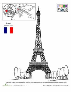 Second Grade Fourth Grade Places Geography Worksheets: Eiffel Tower Coloring Page Geography Worksheets, Geography Activities, Alphabet Worksheets, Five In A Row, World Thinking Day, World Geography, Voyage Europe, France, Tour Eiffel