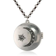 """Lucky Brand Moon Locket Necklace, 28.5"""""""