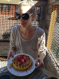 Pumpkin Waffle: Toasted Pumpkin seeds, Peanut Butter and Strawberries  The Everywhere Place: Weekend Recap