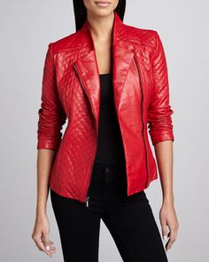 $175, Red Quilted Leather Jacket: Neiman Marcus Quilted Leather Asymmetric Zip Jacket. Sold by Neiman Marcus. Click for more info: http://lookastic.com/women/shop_items/118543/redirect