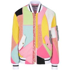 Moschino Jacket (€1.935) ❤ liked on Polyvore featuring outerwear, jackets, pink, zip jacket, zipper jacket, moschino jacket, pink zip jacket and tweed jacket