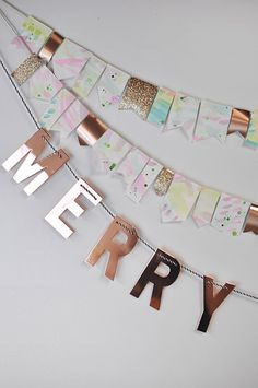 Merry Christmas Watercolor Party Garland