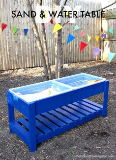 A DIY tutorial to build a sand and water play table.  Make the perfect play space for kids and theyll be entertained for hours. #playtable #freeplans