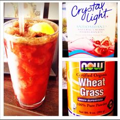 Ice, water, package of crystal light and wheatgrass powder. Good way to get wheatgrass without ANY of the icky taste. I used the Energy 5 calorie kind...