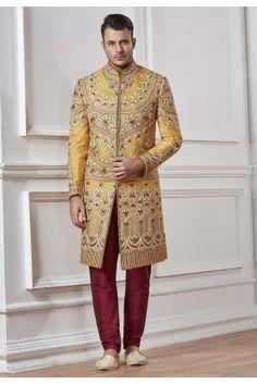 Designer Sherwani for men online shopping Sherwani Groom, Mens Sherwani, Wedding Sherwani, Raw Silk Fabric, Yellow Fabric, Wedding Men, Wedding Suits, How To Look Handsome, Groom Wear
