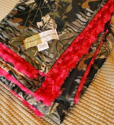 Large Blanket Camo and Hot Pink Minky Swirl by MamasBabyLove, $59.99