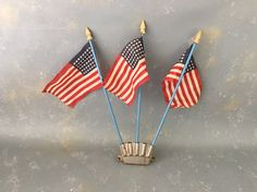Vintage Flags 48 star stand small display desktop set by PassedBy