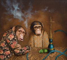 monkey, friends, smoke, artwork www.lieneliepina.com Monkey See Monkey Do, Monkey Art, Funy Animals, Animals And Pets, Portrait Art, Pet Portraits, Animal Heads, Funny Animal Videos, Artwork Design