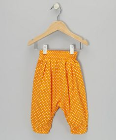 Take a look at this Orange Polka Dot Harper Harem Pant - Toddler & Girls by Frankie & Sue on #zulily today!