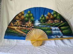 Vintage Large Accordion Fan Handpainted Island Scene - Vintage Handpainted Decor - Wall Decor Plate Wall Decor, Plates On Wall, Vintage Wear, Etsy Vintage, Wicker Picnic Basket, Hand Carved, Hand Painted, Wooden Plates, Afghan Blanket