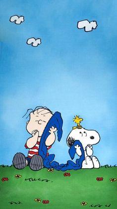 Snoopy, Woodstock, Linus & his blanket lol. Linus Peanuts, Peanuts Cartoon, Charlie Brown And Snoopy, Peanuts Characters, Cartoon Characters, Snoopy Wallpaper, Iphone Wallpaper, Wallpaper Bonitos, Linus Van Pelt