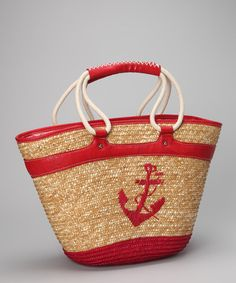 Take a look at this Straw Studios Red Anchor Straw Tote by Straw Studios on #zulily today!