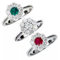 Anelli con diamanti  rubino e smeraldo