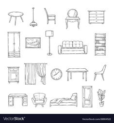 Sketch furniture bookcase and chairs sofa and vector image on VectorStock Architecture Blueprints, Interior Architecture Drawing, Interior Design Sketches, Industrial Design Sketch, Sketch Design, Classical Architecture, Drawing Furniture, Furniture Sketches, Chair Drawing