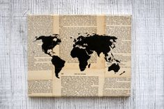 World map 1897 vintage pull down school map chart reproduction map of the world silhouette painted on canvas with by taylorsomae 3000 gumiabroncs Choice Image