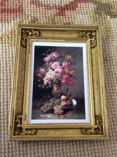 """Pat Tyler Artist Made OOAK Resin with wood grain and gold accents Hand Painted Picture Frame measures approximately 2 1/2"""" Wide, 3 1/2"""" High, 1/2"""" Deep. Painting is printed on Canvas Cloth for a reall"""