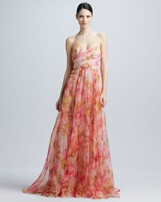 Strapless Floral Print Gown - Lyst