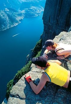 Preikestolen (The Pulpit Rock) Stavanger, Norway I would approach the edge just like this, the ONLY safe way