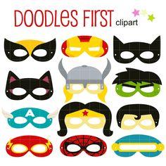 Superhéroes partido máscara Digital imágenes prediseñadas para by DoodlesFirst | Etsy