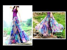 GYPSY Skirt ( Convert Old Sari to GYPSY SKIRT) Drafting, Cutting & Stitching EASY METHOD - YouTube