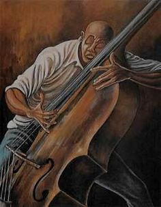 Ernie Barnes - The Bassist - - BLACK ART IN AMERICA
