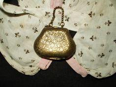 Antique Victorian Bisque Fashion Doll Brass Purse - The Gatherings Antique Vintage.  Price $80.00