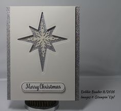 BH & R 2016.  Thick white, Shimmer & Silver Glitter card stock, Starlight thinlit, Star of Light stamp set, VersaMark, Iridescent Sparkle & Silver EP. Inside sentiment : A Wish for you : Peace and Happiness at Christmas and throughout the New Year by Penny Black.
