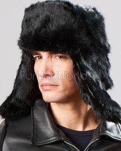 7c4af03cf33 Black Rabbit Fur Russian Ushanka Hat for Men